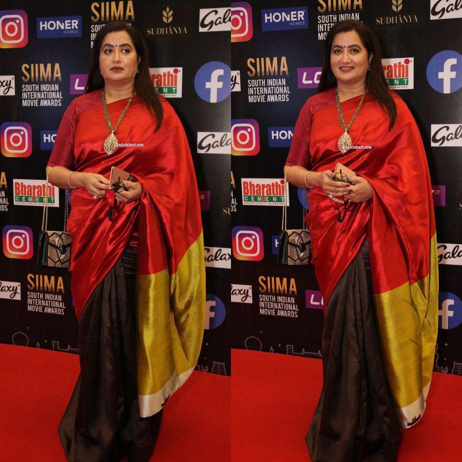 Sumalatha Ambareesh in a multi coloured saree for SIIMA-2021-1