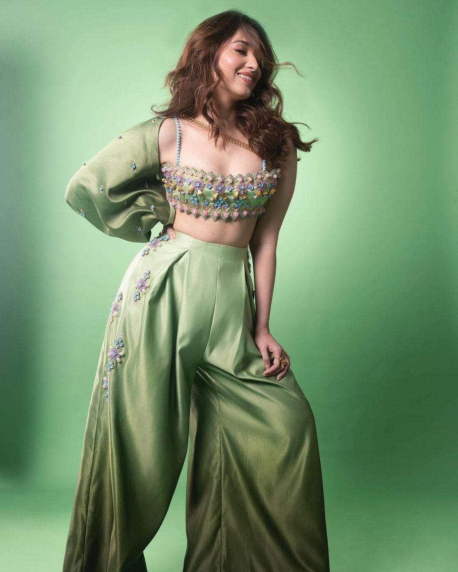 Tamannaah Bhatia in a lime green outfit by papa don't preach for Masterchef telugu-1