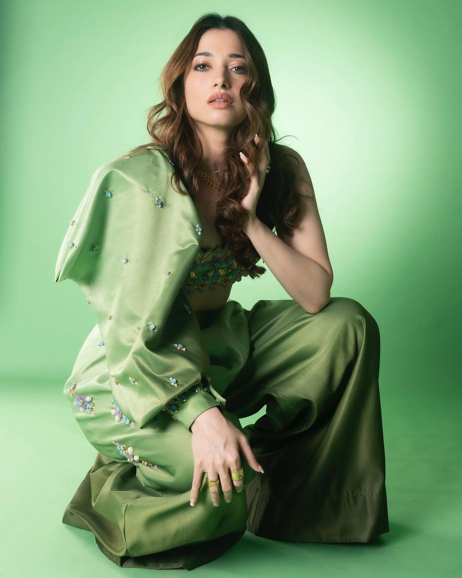 Tamannaah Bhatia in a lime green outfit by papa don't preach for Masterchef telugu