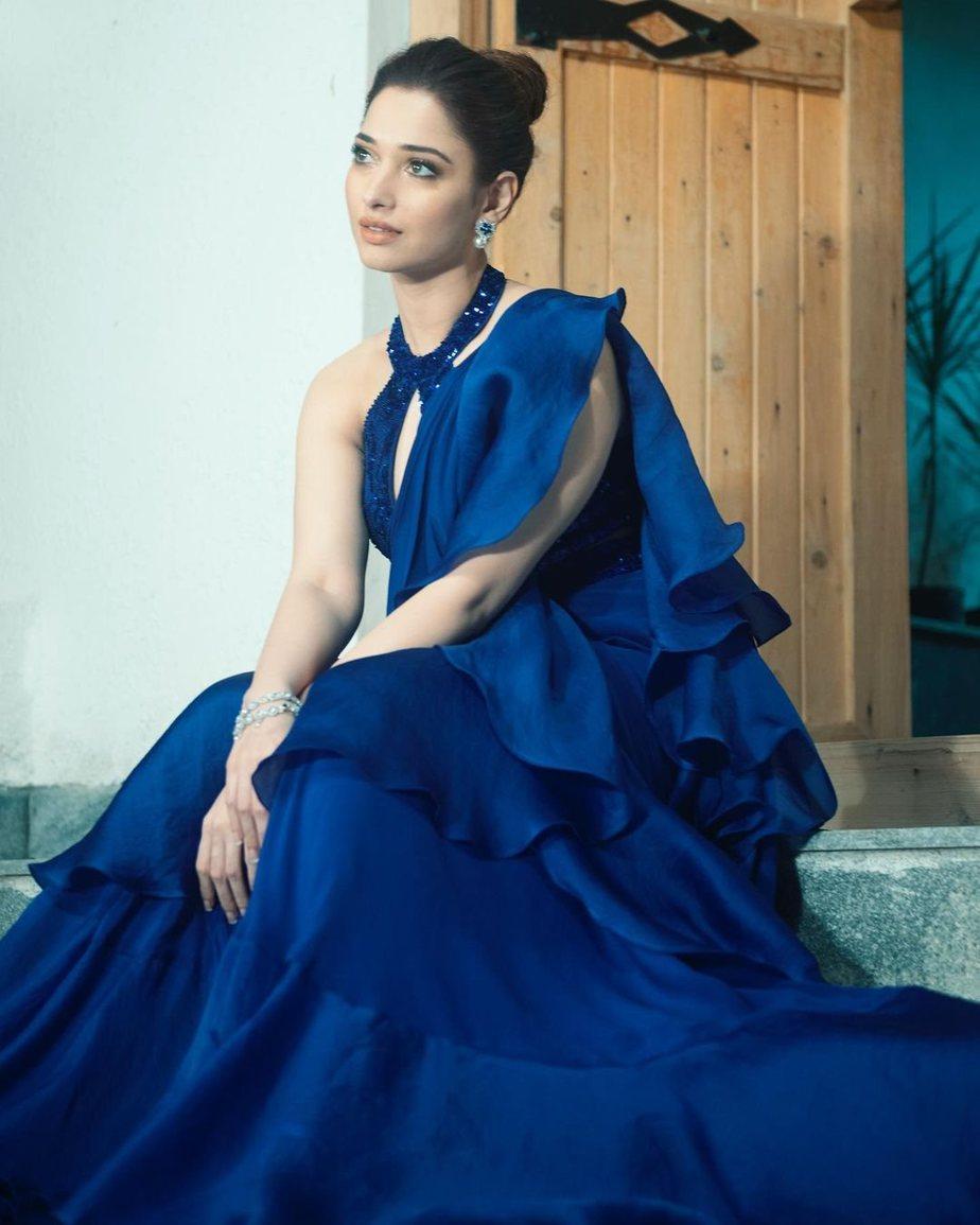 Tamannaah Bhatia in blue Babita Malkani ruffle saree-2
