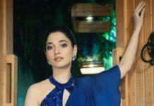 Tamannaah Bhatia in blue Babita Malkani ruffle saree-4