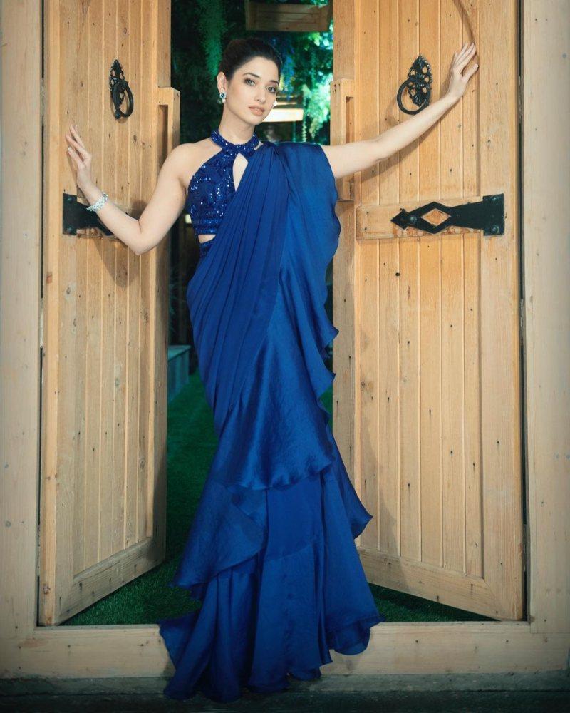 Tamannaah Bhatia in blue Babita Malkani ruffle saree