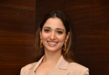 Tamannaah Bhatia in nude colour dress for Maestro pre-release event-1