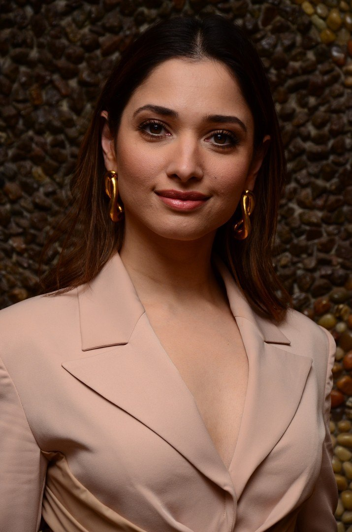 Tamannaah Bhatia in nude colour dress for Maestro pre-release event-2