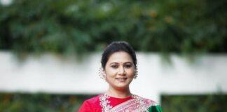 Thabitha Sukumar in green-red saree for Ganesh chaturthi-3