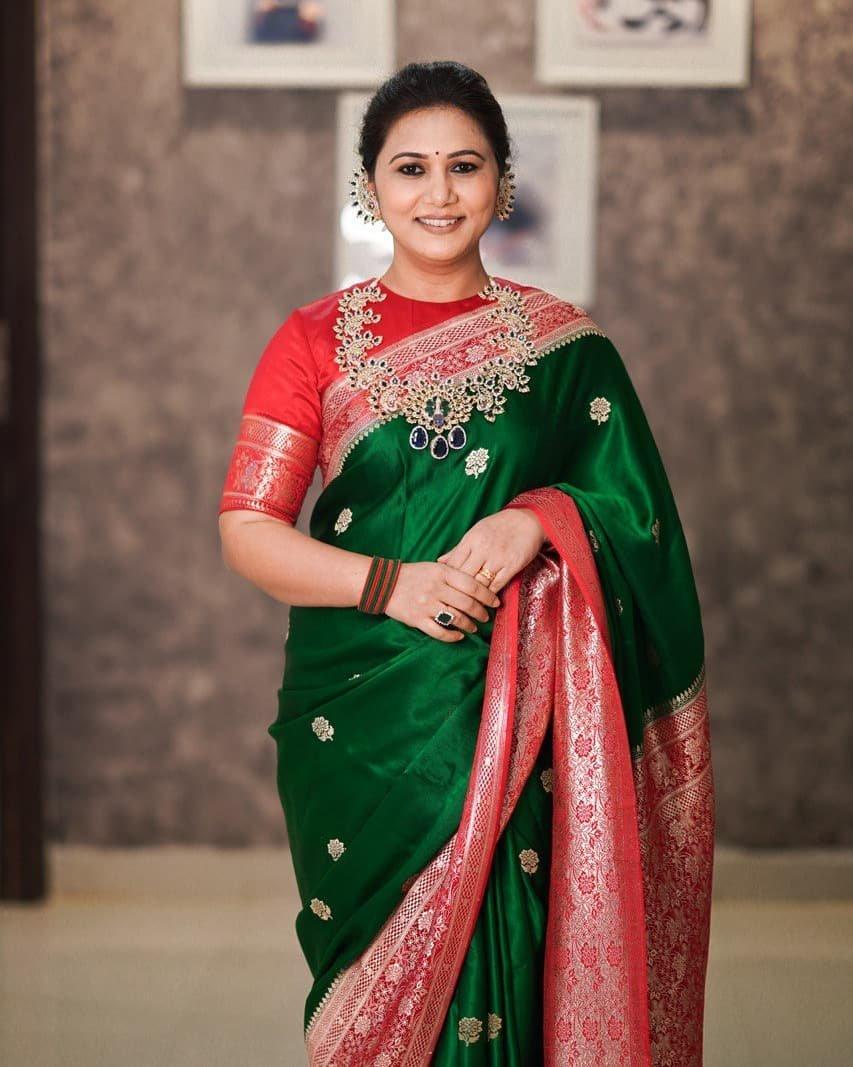 Thabitha Sukumar in green-red saree for Ganesh chaturthi