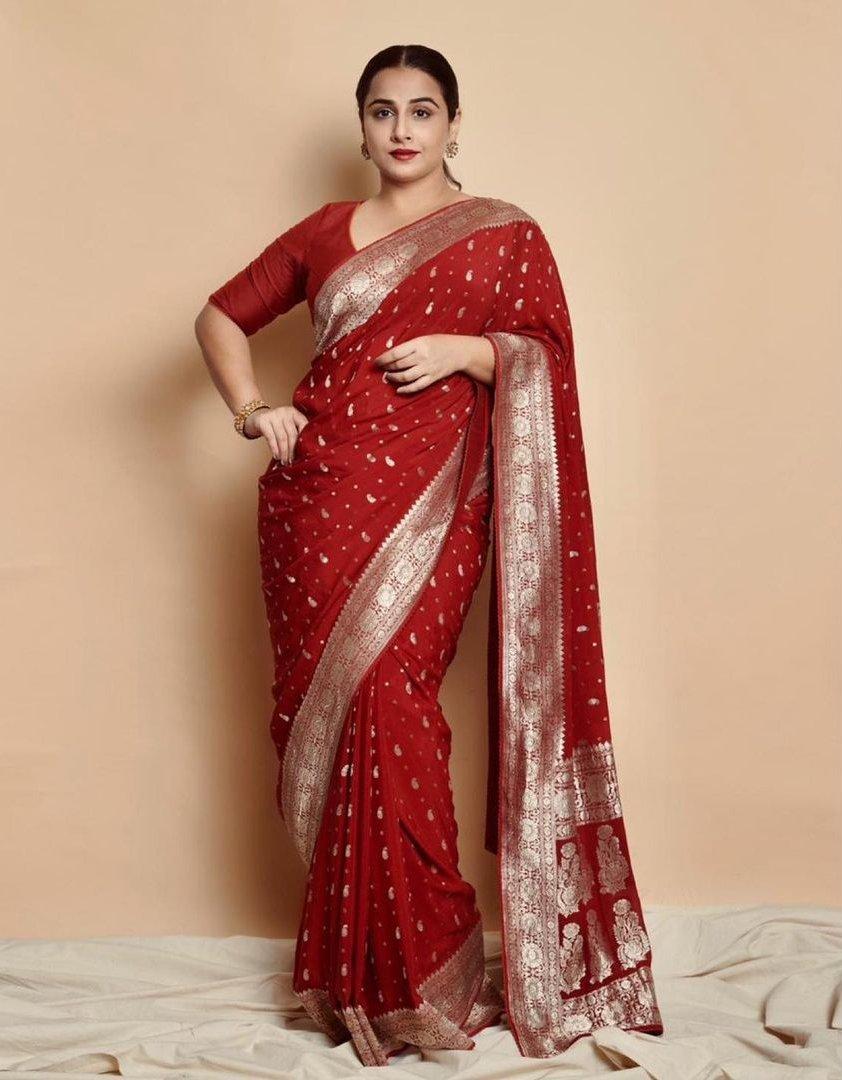 Vidya Balan in a red chanderi saree by Gaurang-1