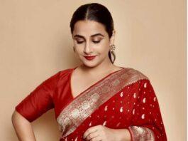 Vidya Balan in a red chanderi saree by Gaurang-4