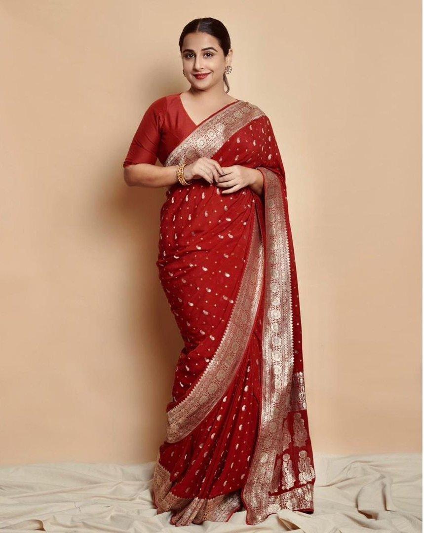 Vidya Balan in a red chanderi saree by Gaurang