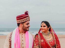 Vidyuraman in red tarun tahilani lehenga for north indian wedding-1