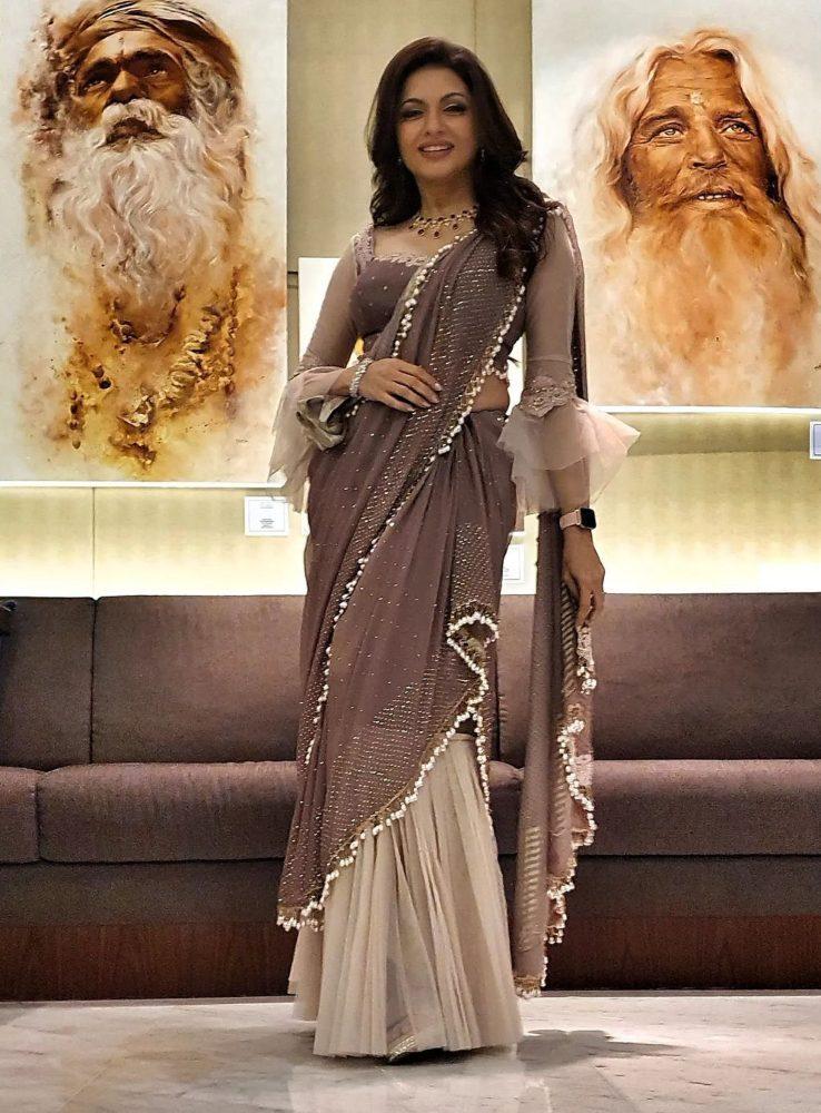 bhagyashree in a brown saree