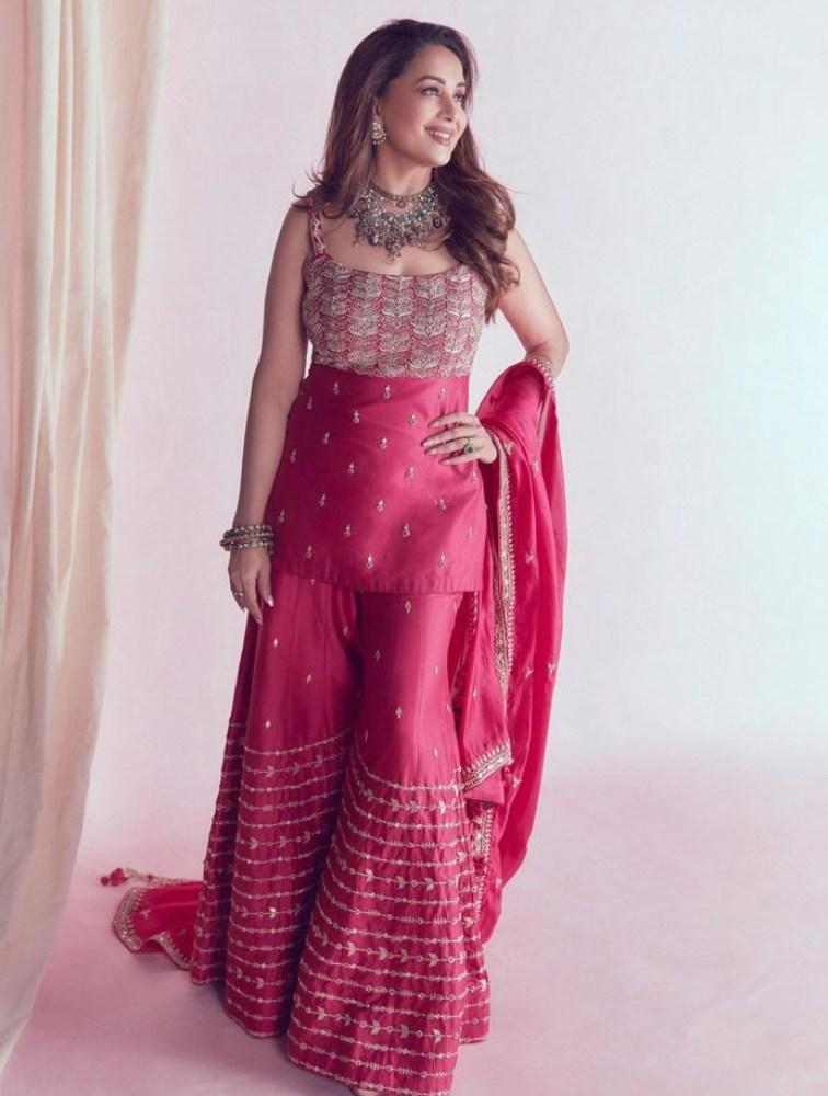 madhuri dixit in pink punit balana dress