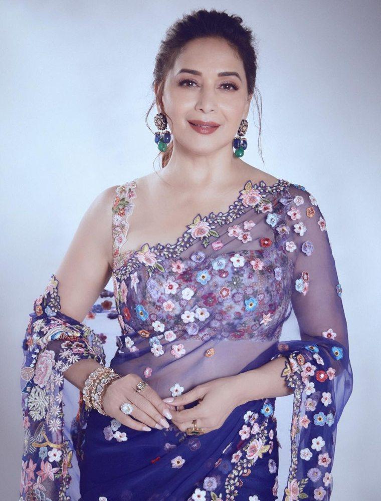 madhuri in rahul mishra saree
