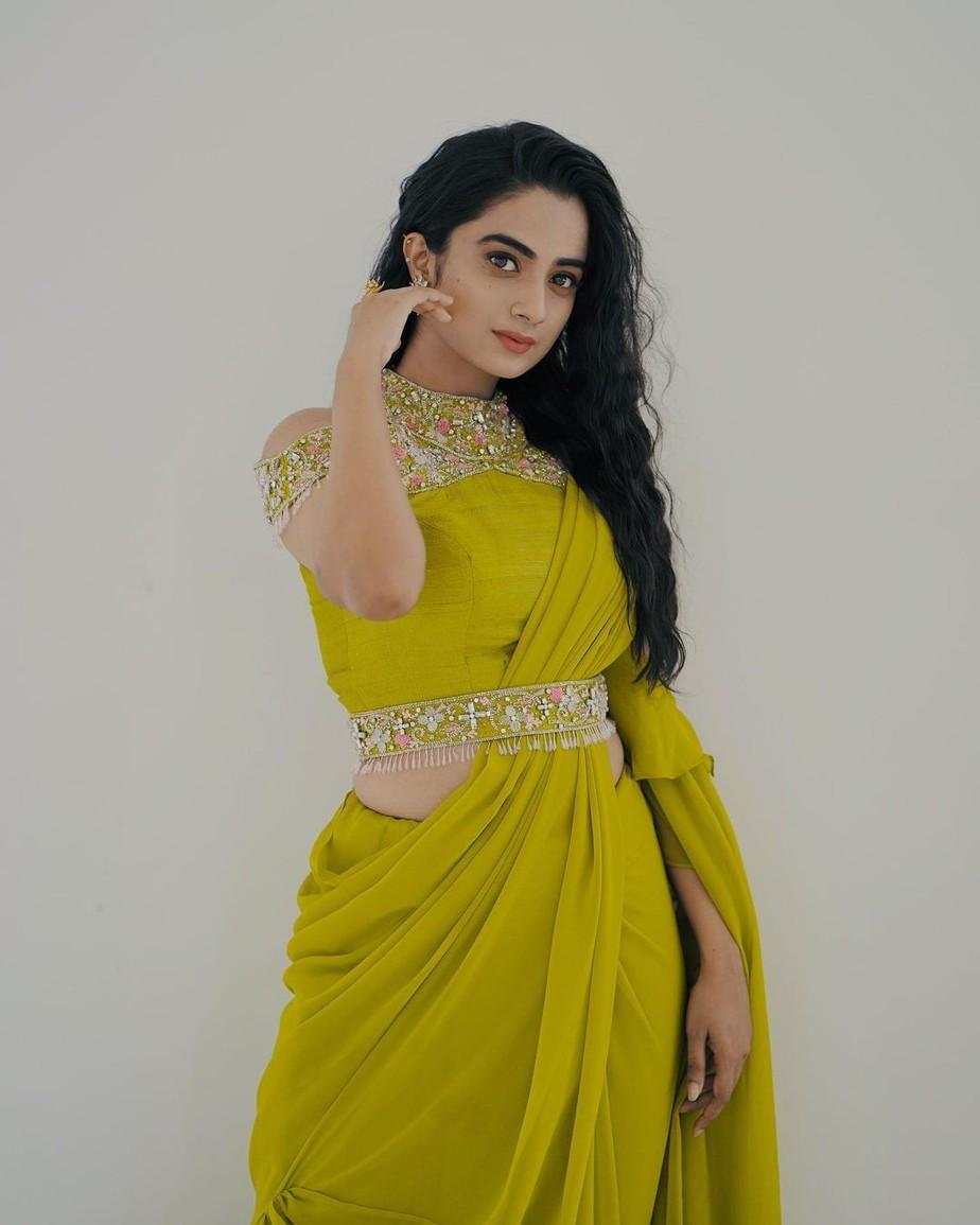 namitha pramod in a neon green saree by Jeune maree-1