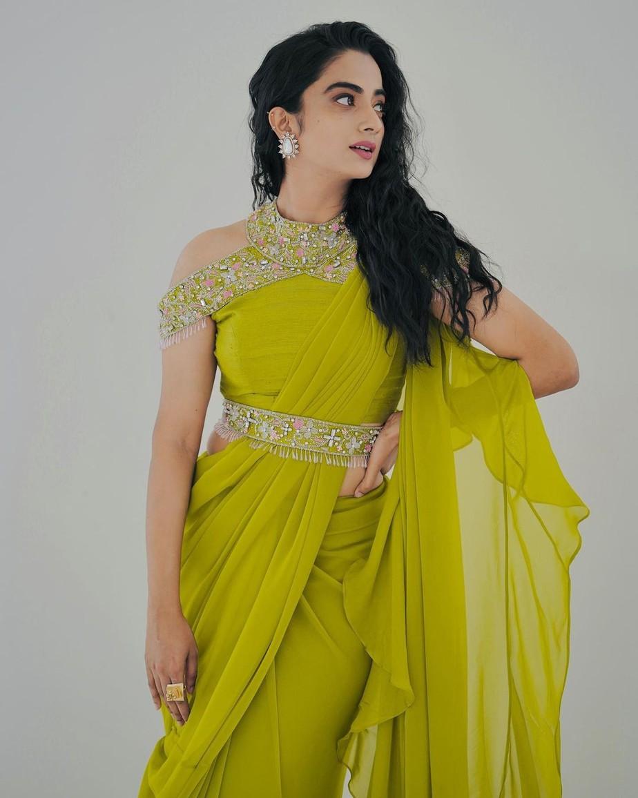 namitha pramod in a neon green saree by Jeune maree-2