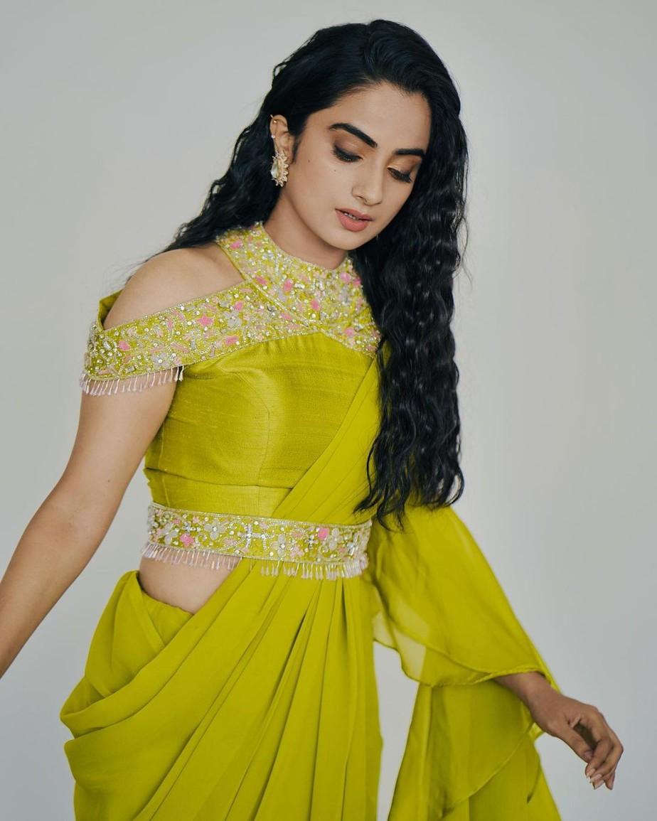 namitha pramod in a neon green saree by Jeune maree-3