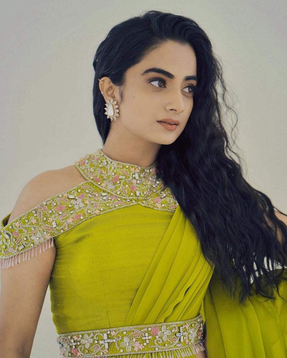 namitha pramod in a neon green saree by Jeune maree-5