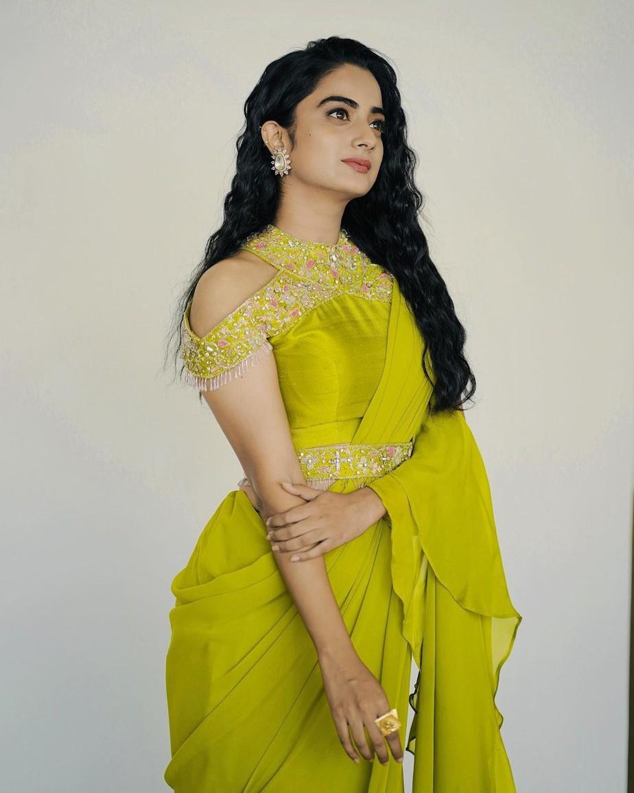 namitha pramod in a neon green saree by Jeune maree