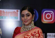 poorna red saree at siima 2021