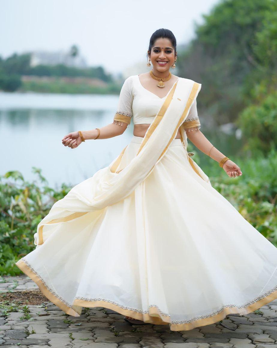 rashmi Gautam in kasavu half saree by Starry dreams