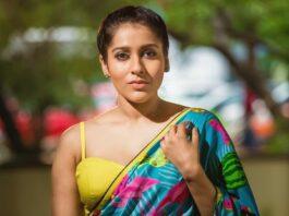 rashmi gautam in a neon green printed saree by Shrutii Clothing-4
