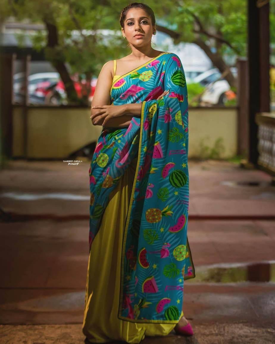 rashmi gautam in a neon green printed saree by Shrutii Clothing