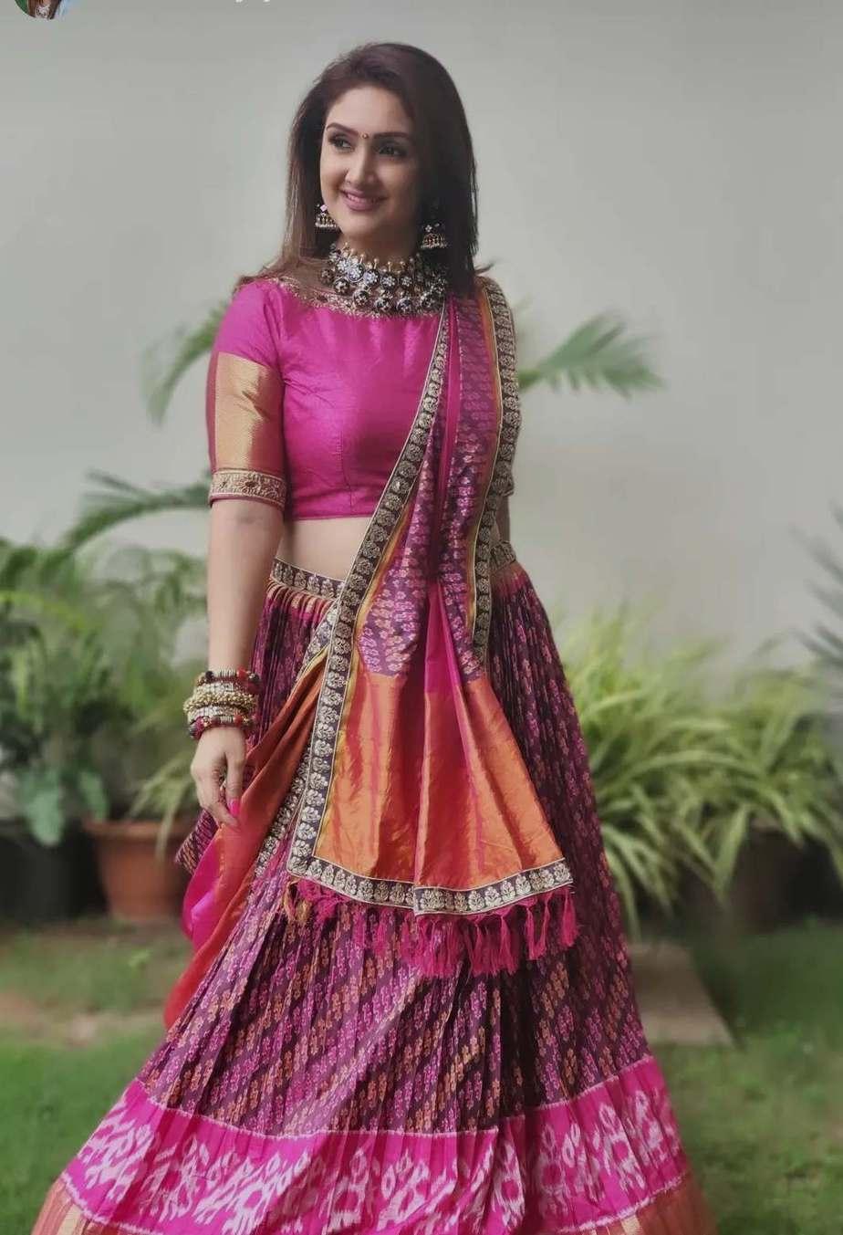 sridevi Vijaykumar in pink patola leehnga by Neeru's for comedy stars-3