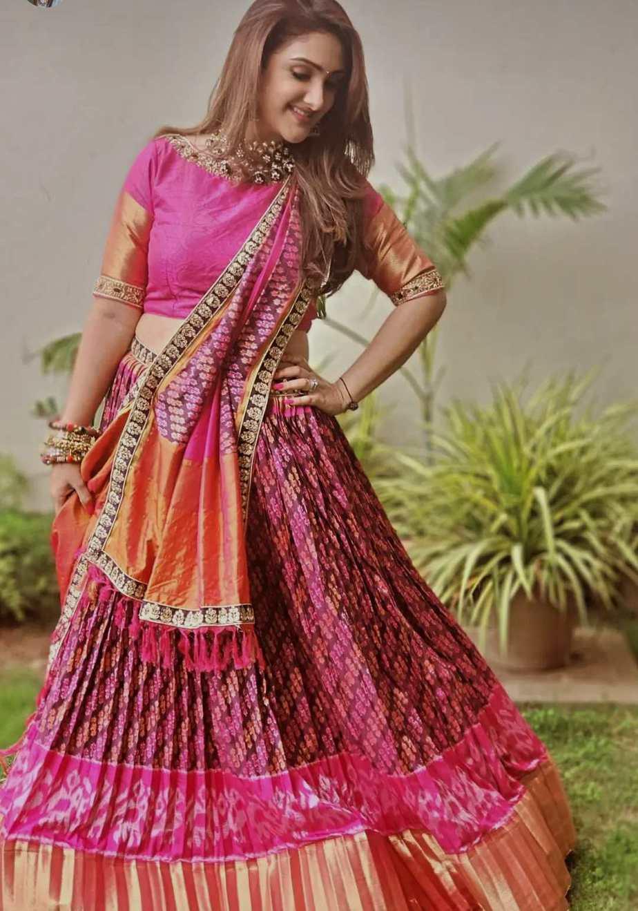 sridevi Vijaykumar in pink patola leehnga by Neeru's for comedy stars-5