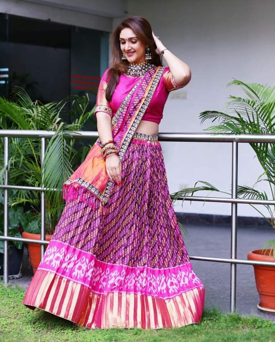 sridevi Vijaykumar in pink patola leehnga by Neeru's for comedy stars