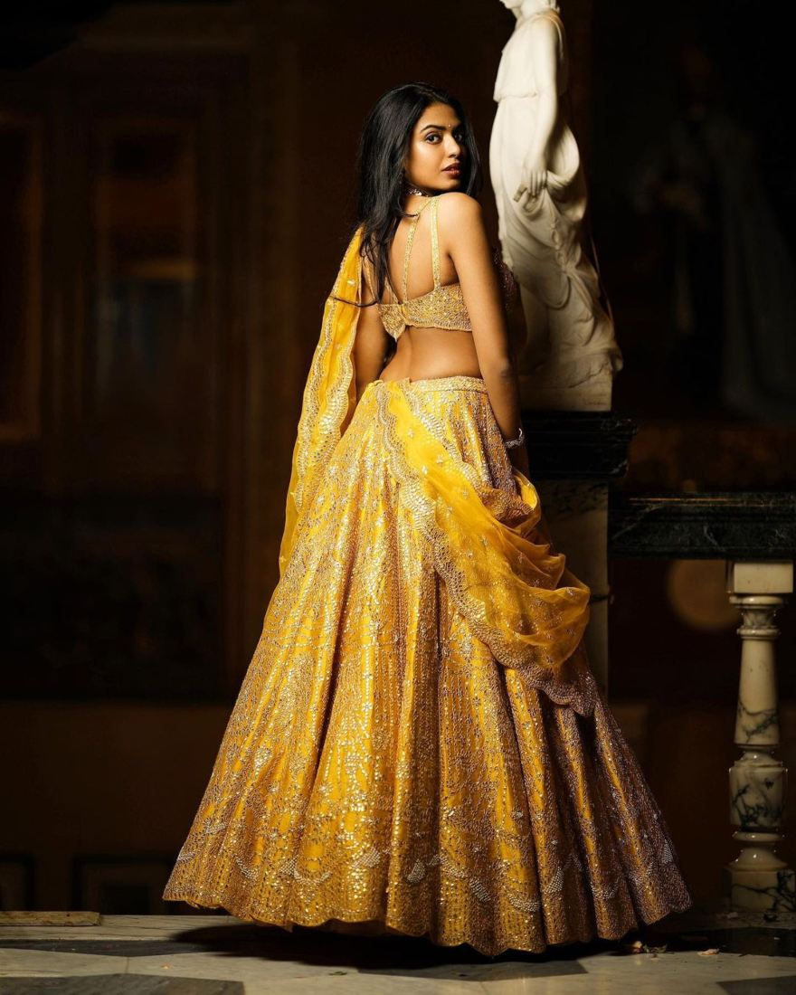 shivani rajeshekar in a yellow origins lehenga-2