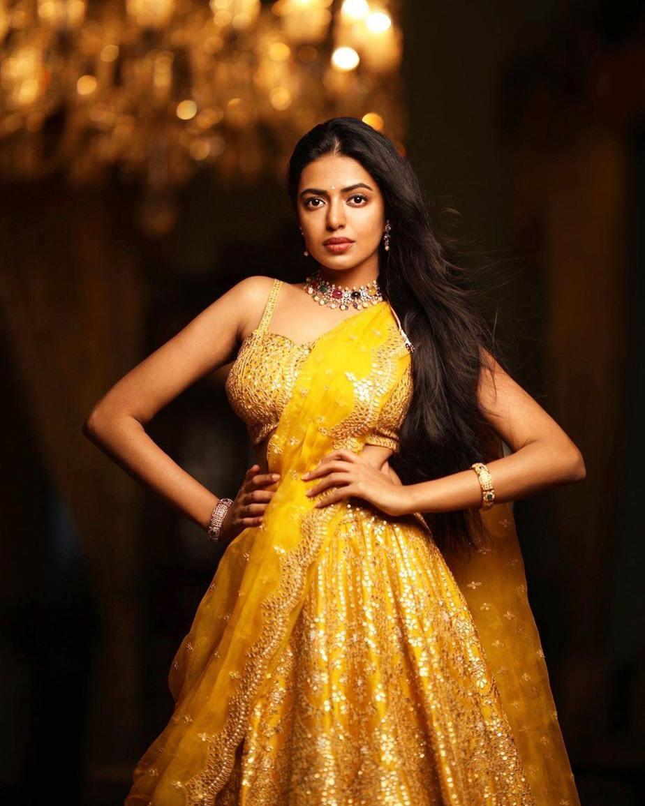 shivani rajeshekar in a yellow origins lehenga-3