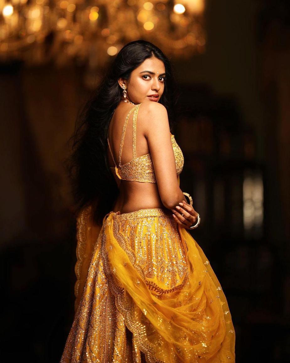 shivani rajeshekar in a yellow origins lehenga-4