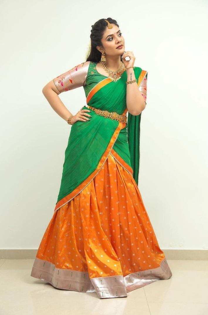 sreemukhi in a green half saree for Comedy stars