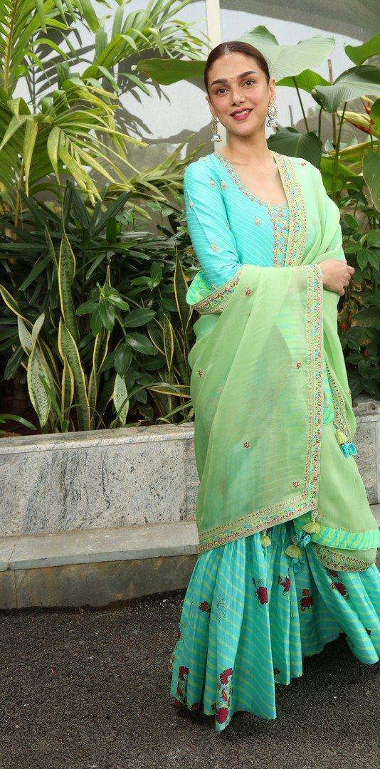 Aditi Rao Hydari in Turquiose sharara set by Punit Balana at Mahasamudram promotions-2