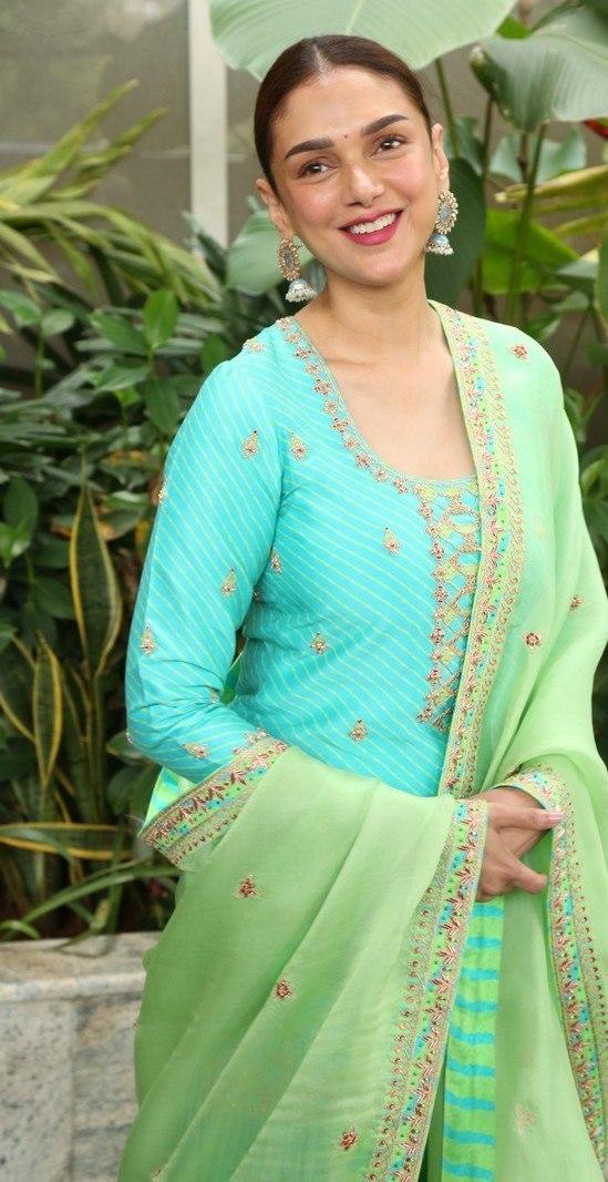 Aditi Rao Hydari in Turquiose sharara set by Punit Balana at Mahasamudram promotions-3