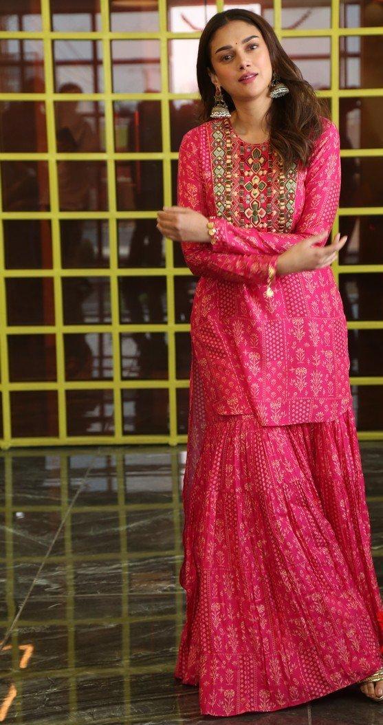 Aditi Rao Hydari in pink Sharara set by label anushree for mahasamudram press meet-1