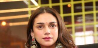 Aditi Rao Hydari in pink Sharara set by label anushree for mahasamudram press meet-3