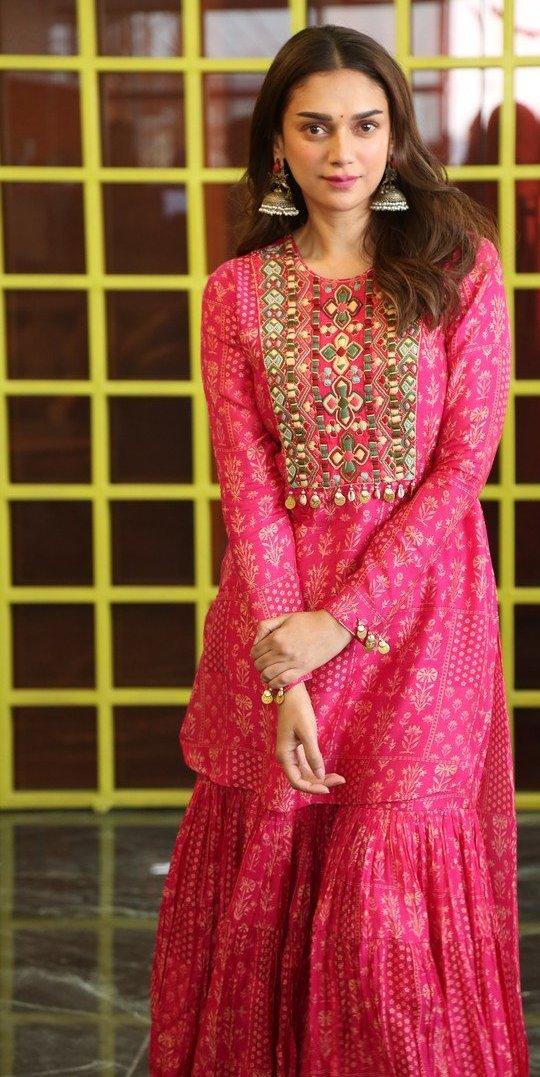 Aditi Rao Hydari in pink Sharara set by label anushree for mahasamudram press meet-4