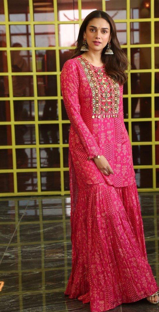 Aditi Rao Hydari in pink Sharara set by label anushree for mahasamudram press meet