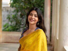 Aishwarya Lekshmi in yellow raw mango saree for new movie muhurat-4