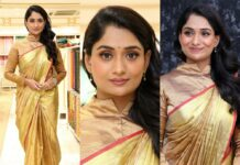Sandhya Raju in a gold saree at a shop opening-featured