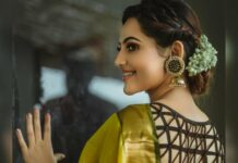 Athulyaa Ravi in a yellow saree by Ruffle trends-3
