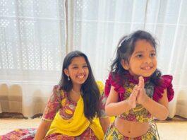 Chiranjeevi's granddaughters in kalamkari outfits for Dussehra 2021