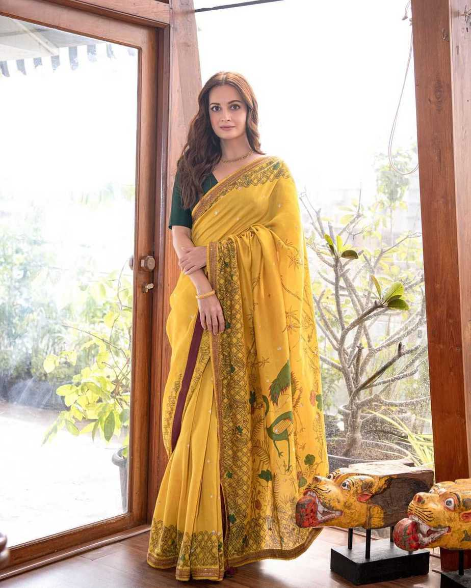 Dia Mirza in a mustard saree by archana jaju for womens of change award