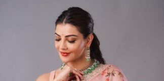 Kajal aggarwal in anushree reddy design pastel saree for an ad-1