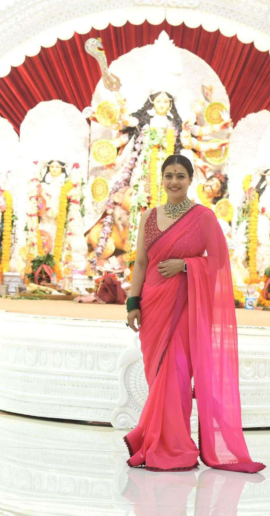 Kajol in pink saree by Punit balana for durga puja day1-1