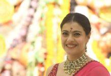 Kajol in pink saree by Punit balana for durga puja day1-3