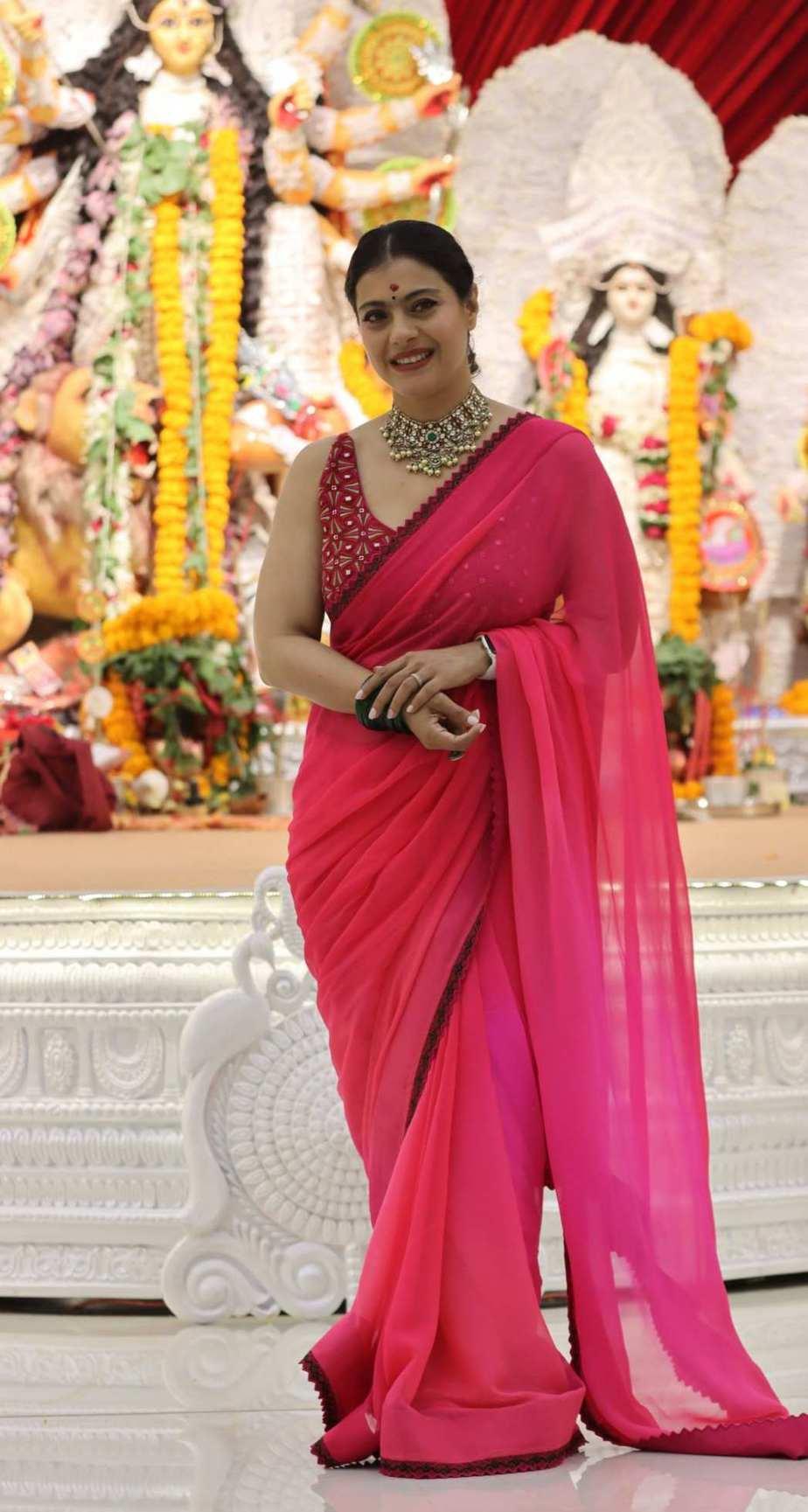 Kajol in pink saree by Punit balana for durga puja day1-4