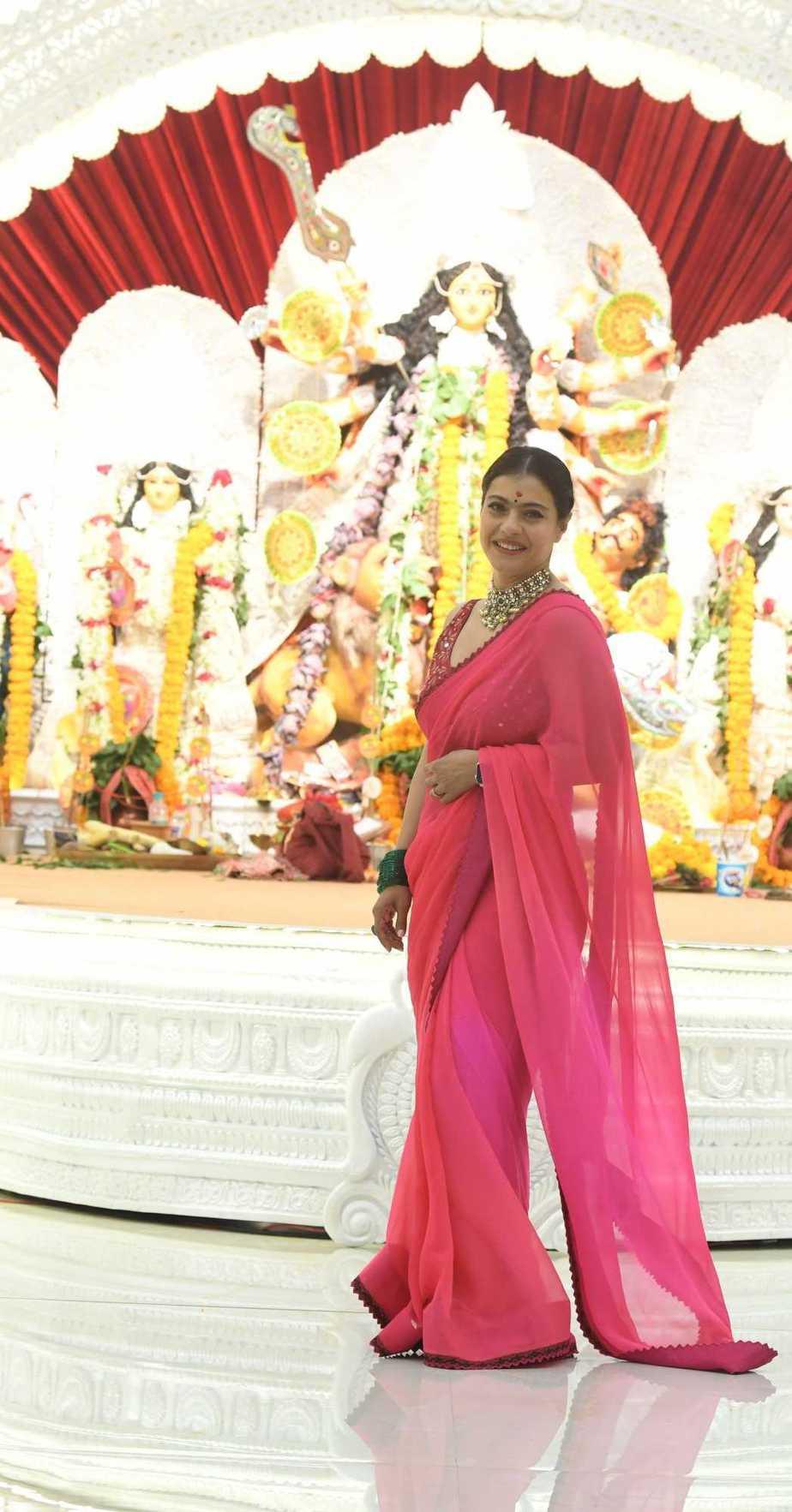 Kajol in pink saree by Punit balana for durga puja day1