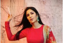 Katrina Kaif in a red lehenga set by Sabysachi for Sooryavanshi promotions-3